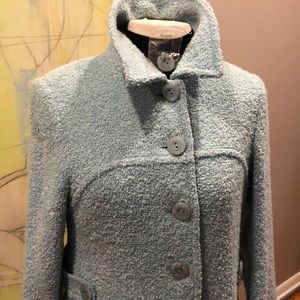 NWOT ETCETERA BLUE NUBBY QUARTER LENGTH COAT